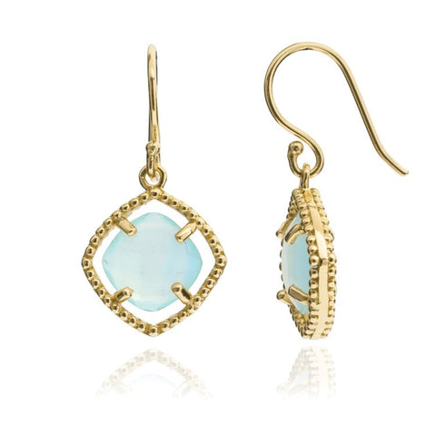 Azuni Delphi Simple Stone Earrings Gold | Aqua -  Bloomsbury Store