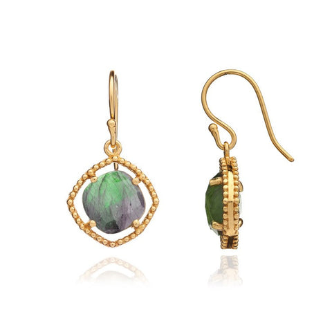 Azuni Delphi Simple Stone Earrings Gold | Labradorite -  Bloomsbury Store