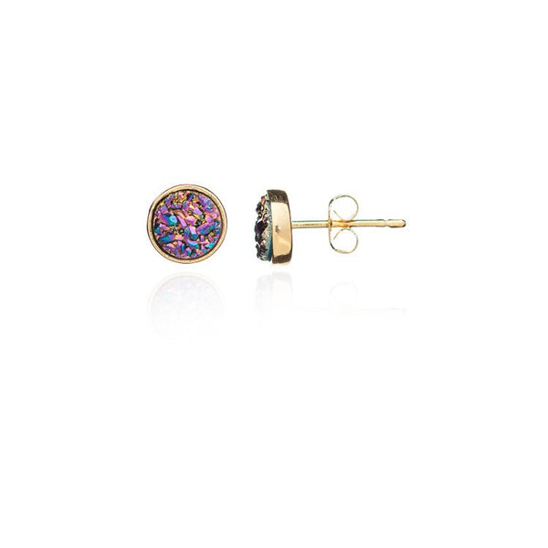 Azuni Round Druzy Stud Earring | Gold / Rainbow Red  | Bloomsbury Store