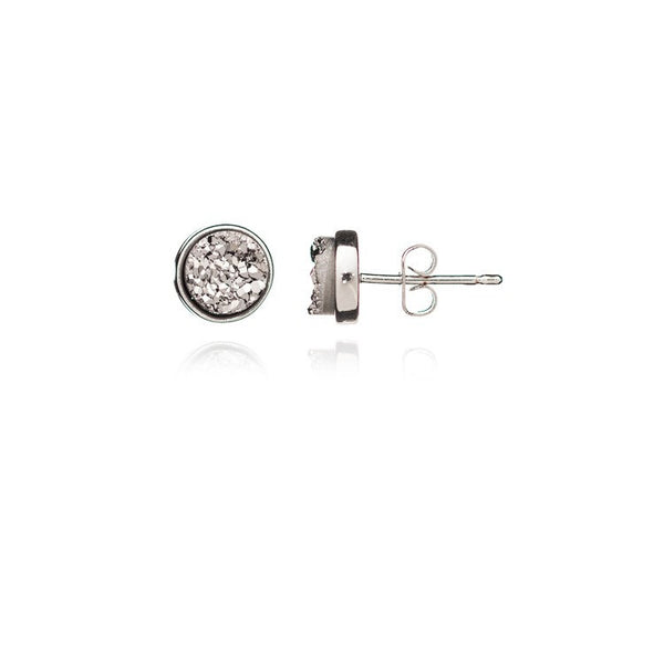 Azuni Round Druzy Stud Earring | Silver / Silver  | Bloomsbury Store