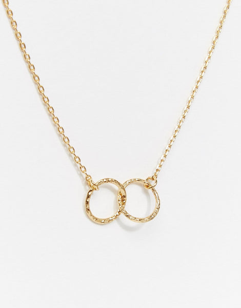 Orelia Necklace Gold | Double Circle Ditsy -  Bloomsbury Store