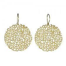 Earrings | Large Coral Disc Gold -  Bloomsbury Store
