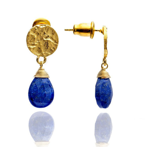 Azuni Athena Gold Disc Drop Earrings | Lapis  | Bloomsbury Store