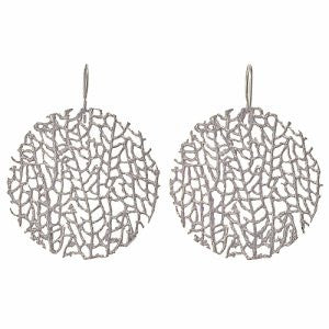 Earrings | Large Coral Disc Silver -  Bloomsbury Store - 1