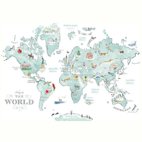 Alice Tait Print | Illustrated World Map -  Bloomsbury Store