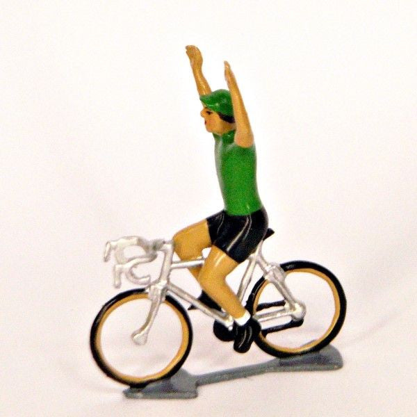 Cycling Figure | Green Jersey Sprinter Hands Up  | Bloomsbury Store