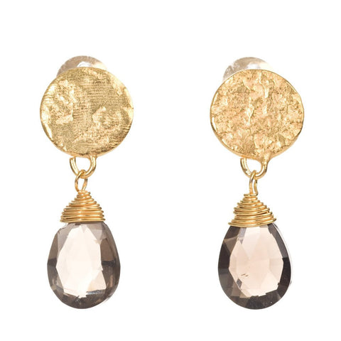 Azuni Gold Plated Disc Earrings | Smokey Quartz -  Bloomsbury Store