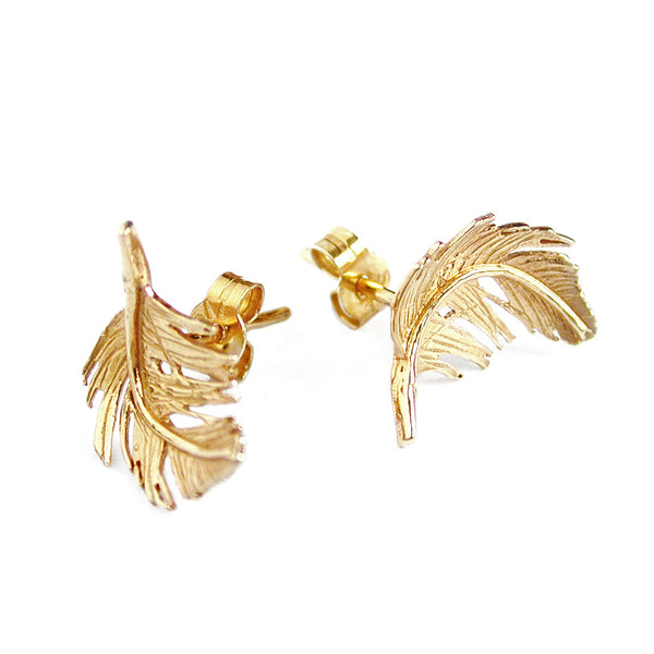 Earrings | Small Feather Studs Gold Plated -  Bloomsbury Store