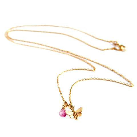 Alex Monroe Necklace Butterfly | Gold/Pink Tourmaline -  Bloomsbury Store