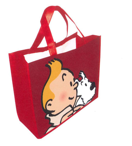 Tintin & Snowy Small Waterproof Shopper | Red -  Bloomsbury Store