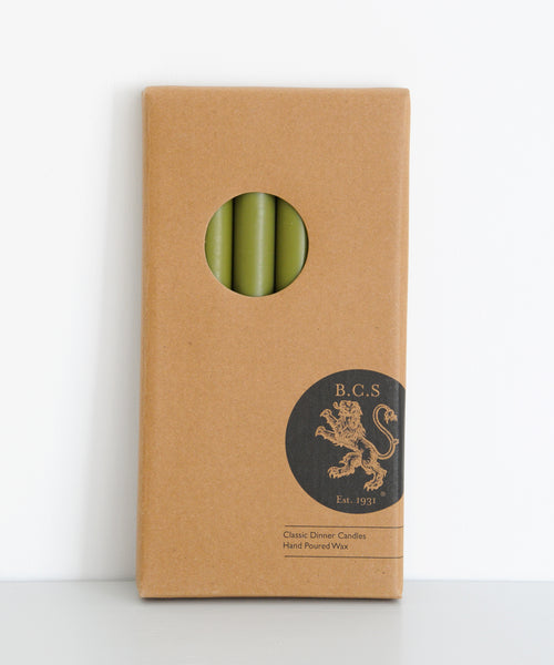Boxed Olive Green Dinner Candles