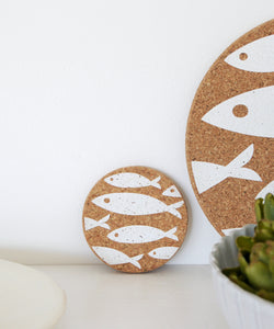 White Fish Cork Coaster
