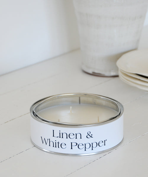 Linen & White Pepper Large Tin Candle - triple wick