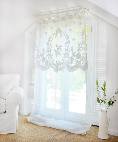 White Linen Curtain with Patterned Overlay