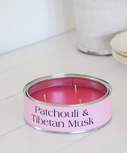Patchouli & Tibetan Musk Large tin Candle