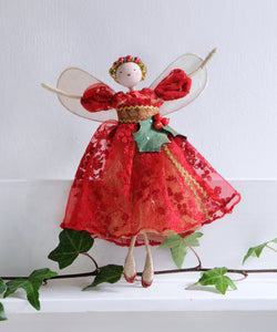 Red vintage holly treetop fairy