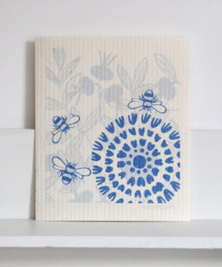 Blue Bees Dishcloth