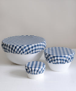 blue gingham bowl over covers