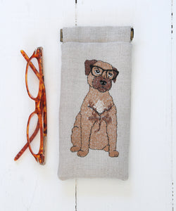 Embroidered Border Terrier Glasses Case