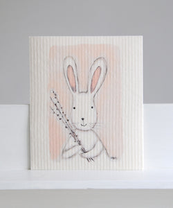 bunny with willow dishcloth