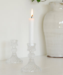 Cut Glass Candlestick - Clear