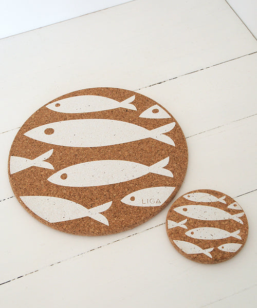 White Fish Cork Coaster and Placemat