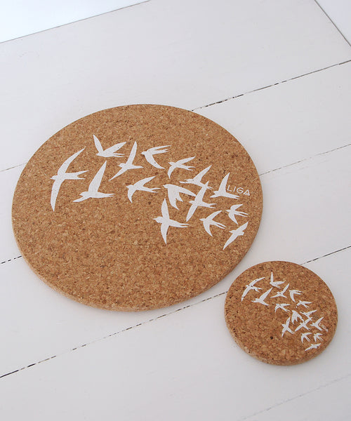 White Swallows Cork Placemat & Coaster