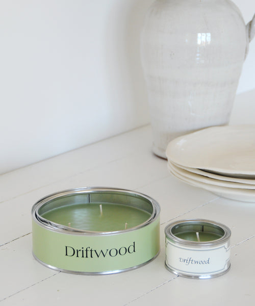 large and small driftwood tin candle