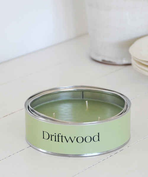large 3 wick tin candle driftwood