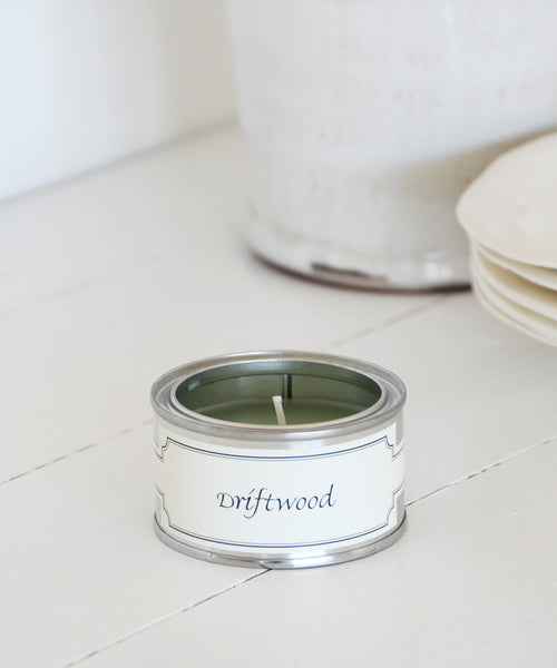 small tin driftwood candle