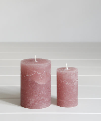 dusky pink pillar candles