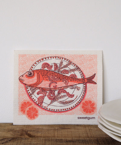 Fish Plate Dishcloth