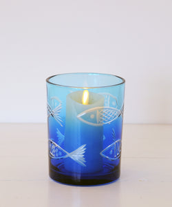 Blue fish votive