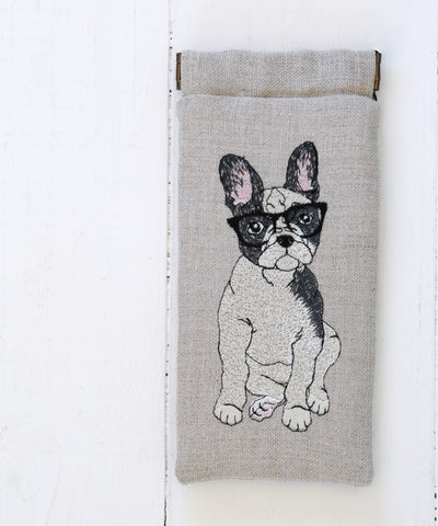 French bull dog glasses case