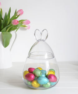Bunny Ears Glass Jar