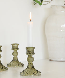 Cut Glass Candlestick - Olive Green