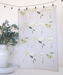 In Bloom Green Flower Tea Towel