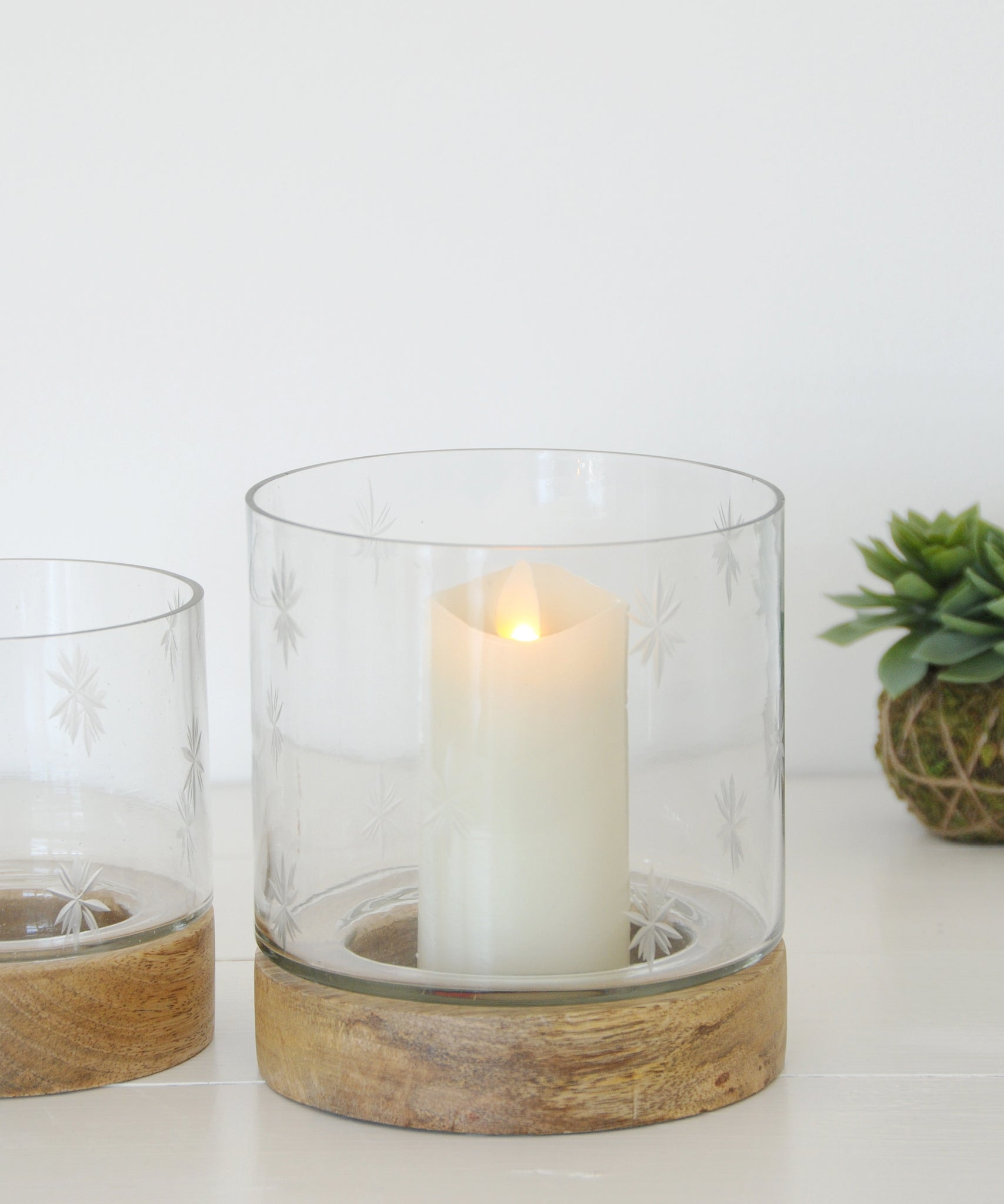 Hurricane lamp etched glass