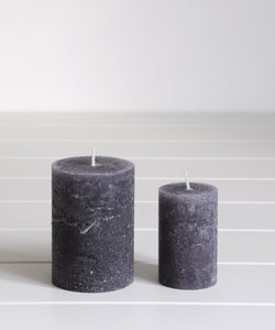 Navy Blue Rustic Pillar Candle