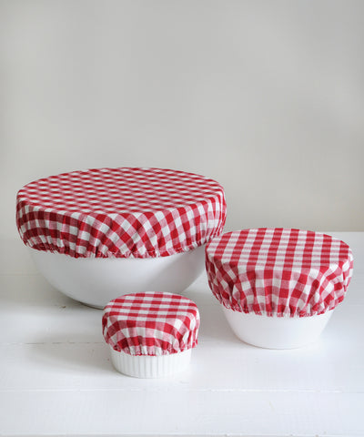 red gingham bowl over covers