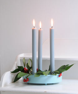 Sky Blue Metal Candle Platter