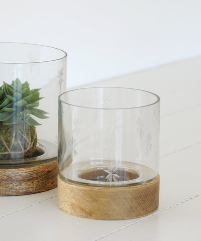 etched glass hurricane lamp