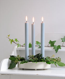 Stone White Metal Candle Platter