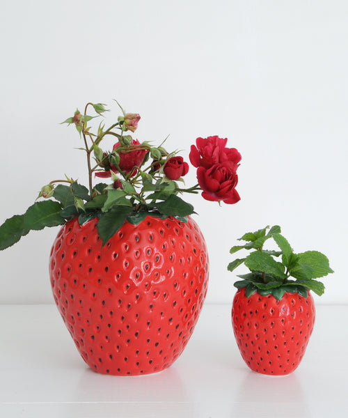 large and small strawberry vase