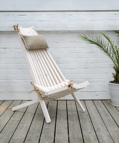 White Wooden Outdoor Chair with Head Rest