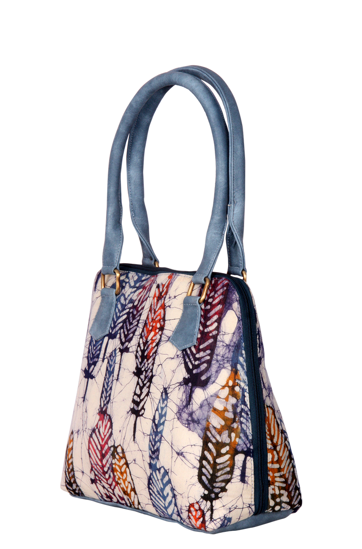 Handmade wax Batik Vegan Leather Tote