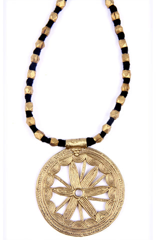 Wheel motif Dokra necklace
