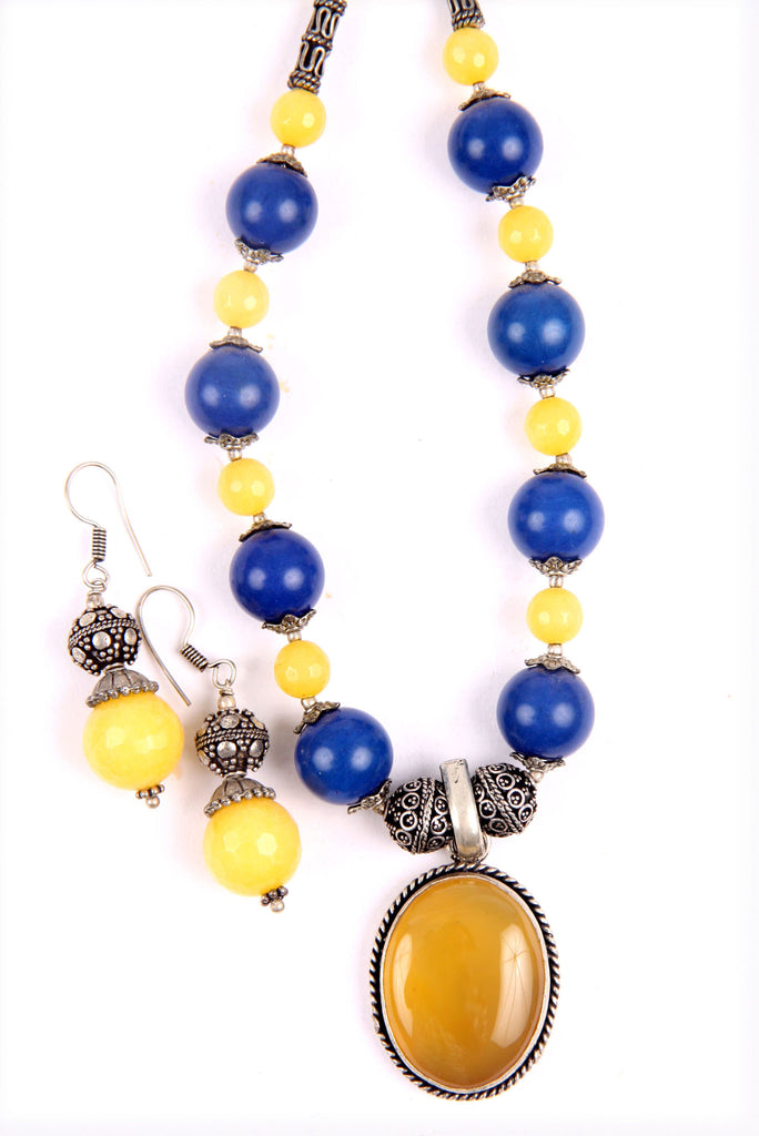 Yellow Topaz Pendant necklace set