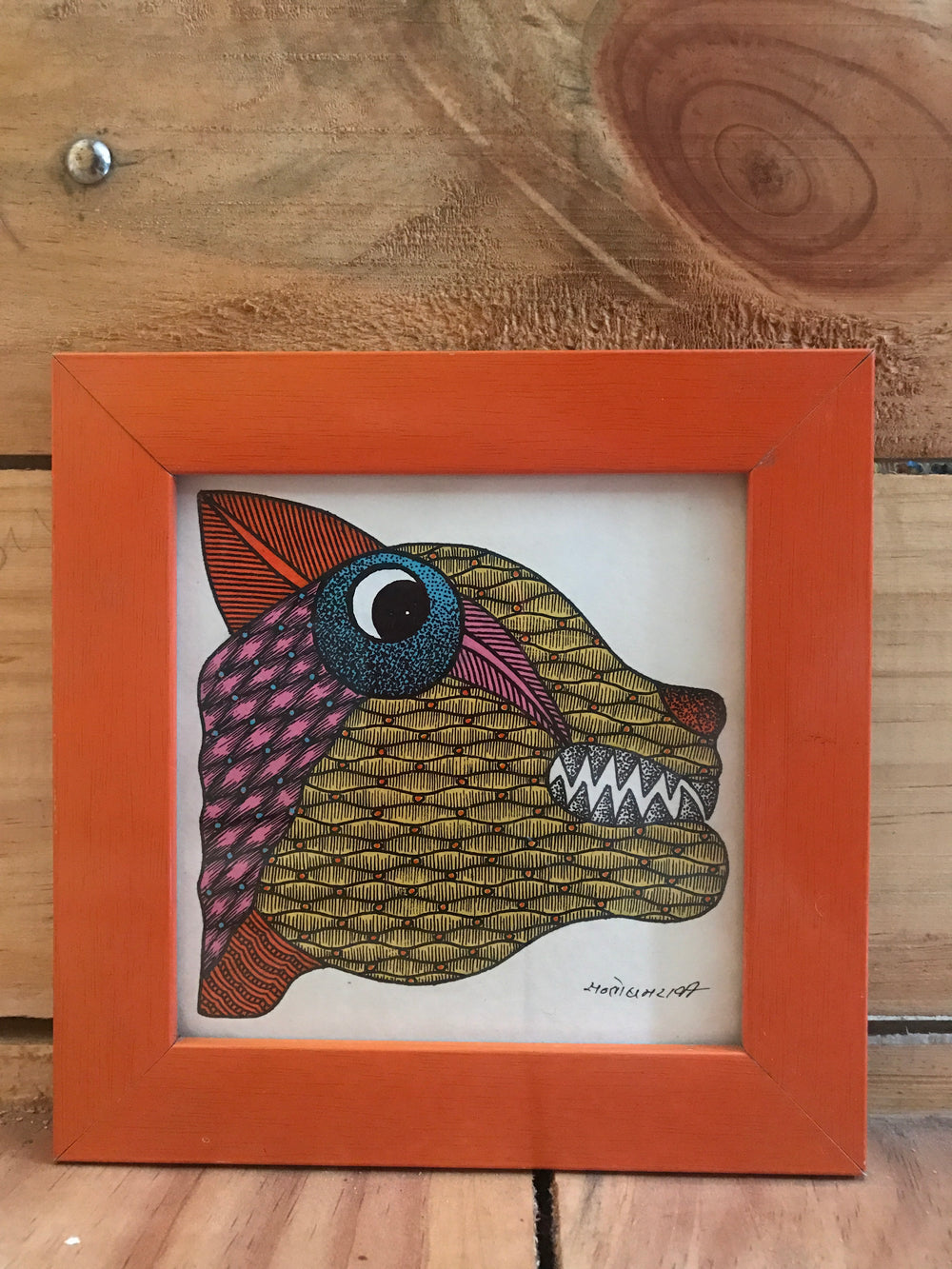 Original Gond painting desktop frame
