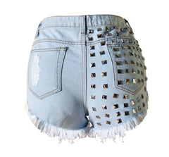 Studded Denim Shorts with Frayed Hem